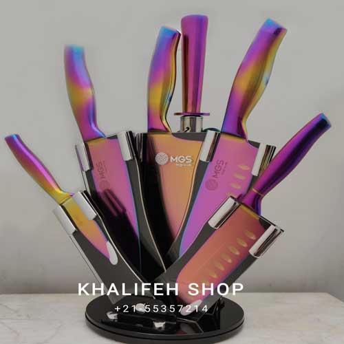 سرویس چاقو آشپزخانه 9 پارچه هفت رنگ
