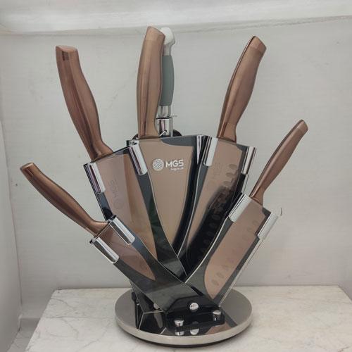 سرویس چاقو آشپزخانه 9 پارچه رزگلد